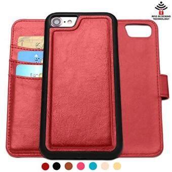 IPhone 7 Case, Iphone 8 Case, shanshui Lipat Sarung Pemegang Kartu Kredit Pemblokiran RFID Dapat Dilepas 2in1 Dompet Case untuk iPhone 7 Produk Merah Khusus Edition & iPhone 8 (Merah) -Internasional