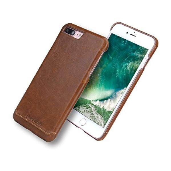 IPhone 7 Plus Case, asli Pierre Cardin Asli Kulit Sarung Ponsel Sampul Belakang Case Anda Apple iPhone 7 Plus (Coklat)-Internasional