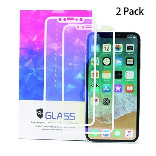 iPhone X Screen ProtectorEStore 2 Pack Tempered Glass 3D Full Coverage Film for Apple XSoft EdgeEye ProtectionAnti Blue RayAnti-fingerprintBubble Free9H HardnessHD ClearUltra-thin 0.2mm White