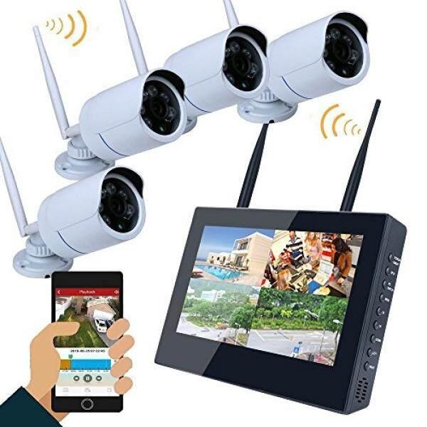 Irulu Sistem Kamera Keamanan Nirkabel 960 P 10 Zoll TFT HD Monitor 4 Kanal 1,3 Juta Piksel Label Nacht Anblick Batal schwere Antrieb Als Heim Außen Und Dalam DVR Video Überwachung-Internasional