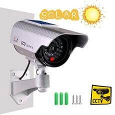 Iseeusee Solar Powered Dummy Surveillance Bullet Fake Camera With Flashing Led-Grey Recharged by Sun