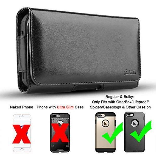 JD iPhone 8 Plus Holster, iPhone 7 Plus holster, J&D PU Leather Holster Pouch Case with Belt Clip, Leather ID Wallet Case for Apple iPhone 8 Plus / iPhone 7 Plus (Fits with OtterBox/Lifeproof/Thick Case) - intl