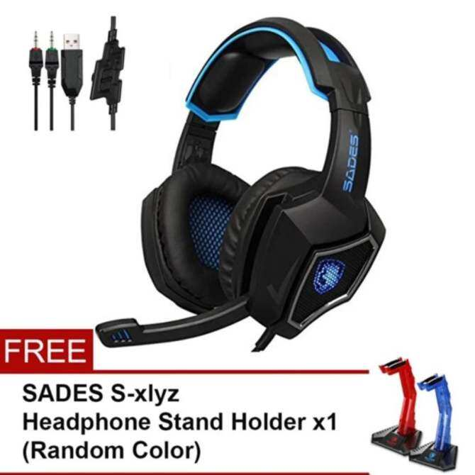 【JM GAMING MALAYSIA】[2017 Newest Lightweight Headphones]SADES R9 Spirit Wolf 3.5mm Wired Computer Gaming Headset with Microphone,Deep Bass Over-the-Ear Noise Isolating, Volume Control, LED Lights For PC Gamers Free stand - intl