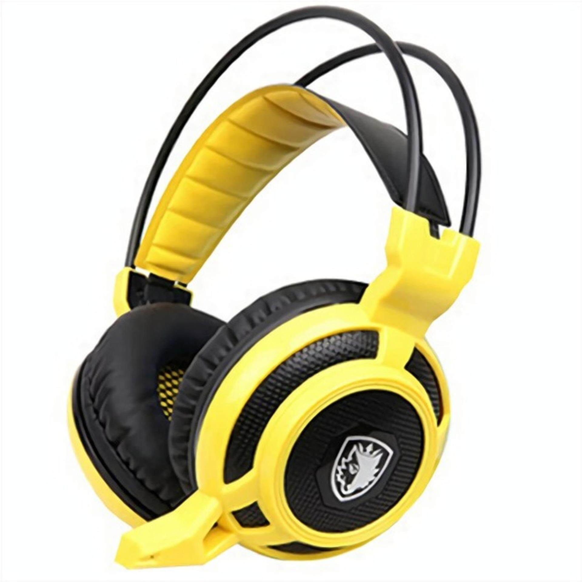 (JM GAMING MALAYSIA)SADES MOYU YELLOW Arcmage 3.5mm PC Gaming  Headset Headphones with Microphone Volume Control Noise Canceling  LED light for PC/Notebook/Laptop(YELLOW)