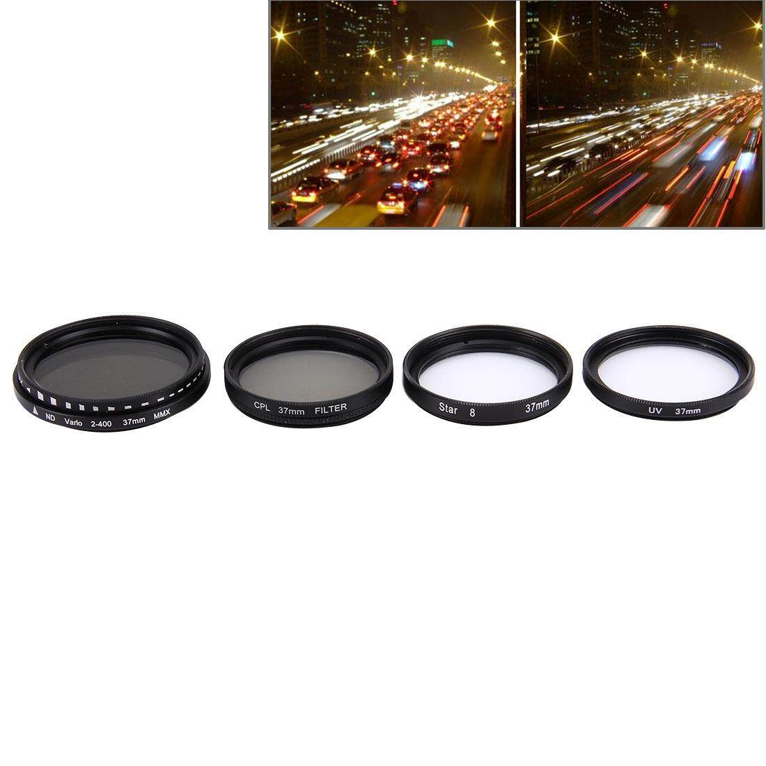 Junestar 4 In 1 Proffesional 37 Mm Filter Lensa (CPL + UV + ND2-400 + Bintang 8) untuk GoPro & Xiaomi Xiayi Yi Olahraga Kamera Aksi-Intl