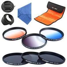 K&F Concept 58mm 6pcs Lens Accessory Filter Kit Neutral Density Filter for Canon 600D EOS M M2 700D 100D 1100D 1200D 650D DSLR Cameras - Includes Filter Kit(ND2+ND4+ND8,Graduated Color Blue,Orange,Gray) + Microfiber Lens Cleaning Cloth + Petal Lens H