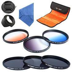 K&F Concept 58mm 6pcs Lens Accessory Filter Kit Neutral Density Filter for Canon 600D EOS M M2 700D 100D 1100D 1200D 650D DSLR Cameras - Includes Filter Kit(ND2+ND4+ND8,Graduated Color Blue,Orange,Gray) + Microfiber Lens Cleaning Cloth + Petal Lens H