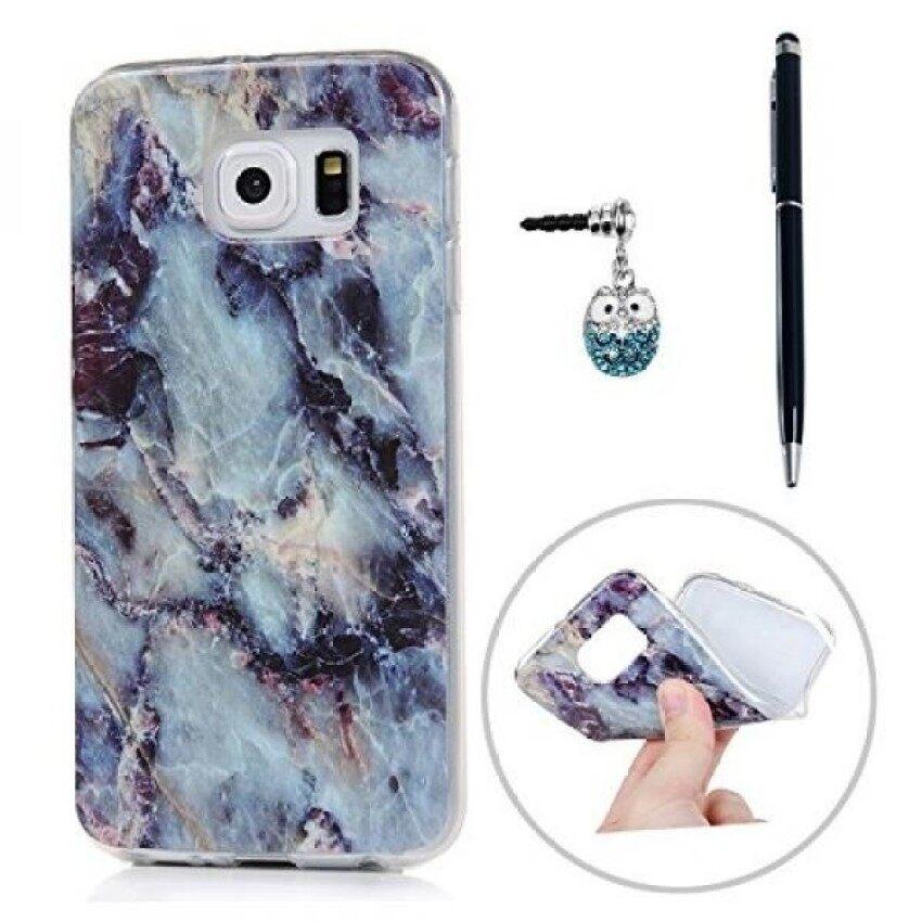 Kasos S6 Pola Marmer Yang Unik Warna-warni Lukisan Lembut Kasus TPU Slimfit Ringan Bemper Sarung & Amp; debu Steker Stylus untuk Samsung Galaksi-Biru-Internasional