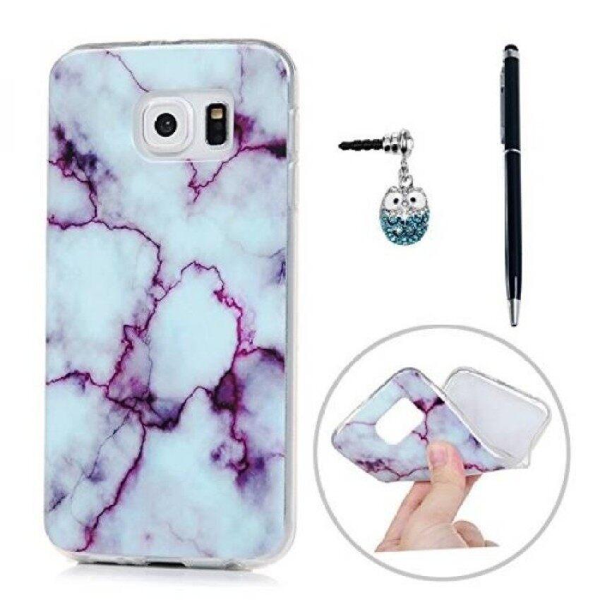 Kasos S6 Pola Marmer Yang Unik Warna-warni Lukisan Lembut Kasus TPU Slimfit Ringan Bemper Sarung & Amp; debu Steker Stylus untuk Samsung Galaksi-Ungu & Amp; Putih-Internasional