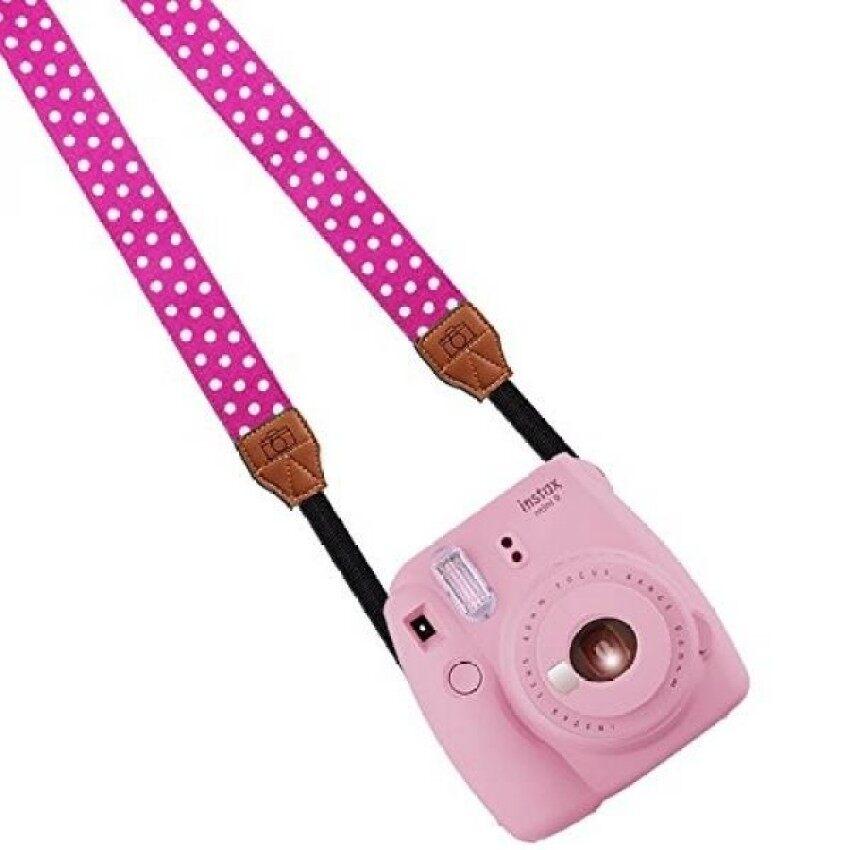 Katia Camera Shoulder Neck Strap Belt For Fujifilm Instax Mini 25/ Mini 8/ Mini 90 Instant Camera, Polaroid Socialmatic/ Z2300 Instant/ Pic300 Instant Camera, Canon Camera(Rose Red/ White Dots) - intl