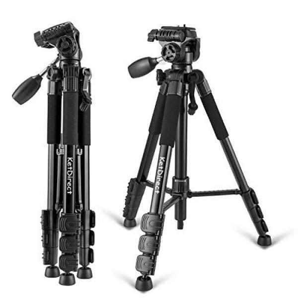 Ketdirect Tripod Kamera, ketdirect K111 Aluminium Profesional Kamera Ringan Tripod S dengan Rocker Arm Kepala Bola dan Kotak Dompet Perkakas Bertualang Digital SLR Kamera atau Video (hitam) -Intl
