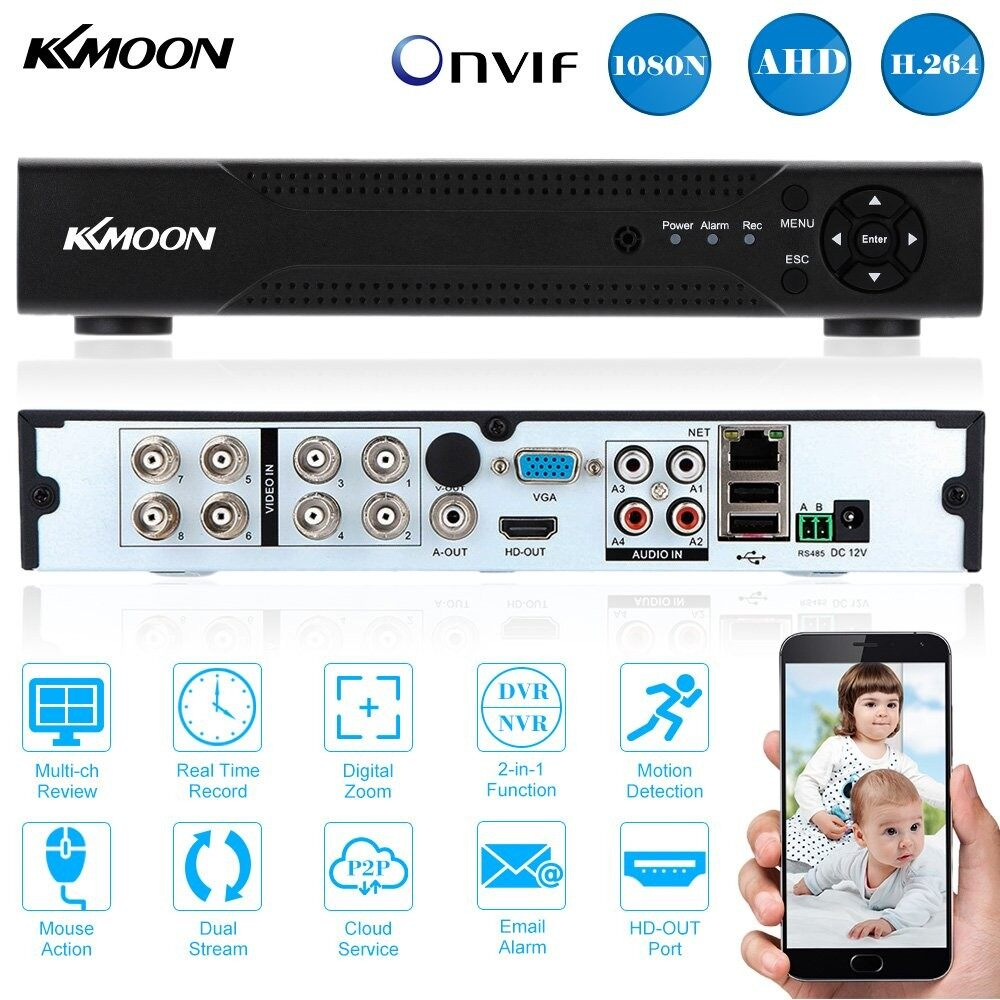 KKMOON 8CH Channel Full 1080N/720P AHD DVR NVR HDMI P2P Cloud Network Onvif  Digital Video Recorder support Plug and Play Android/iOS APP Free CMS