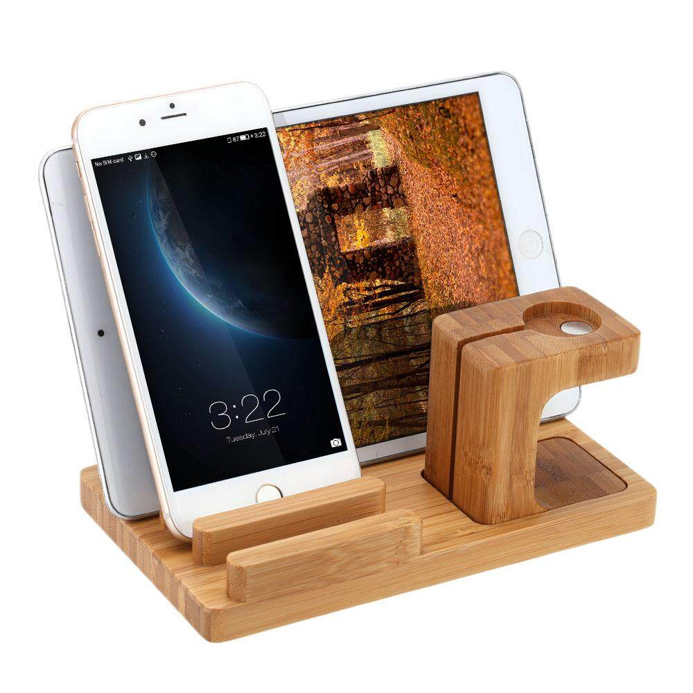 New Kkmoon All In 1 Bamboo Charging Stand For Apple Watch Iwatch 38Mm 42Mm All Editionfor Iphone 6 6S 6 Plus 6S Plus 5S 5C 5 Samsung Galaxy S6 S6 Edge Htc For Ipad Tablets Pen Stand Eco Friendly Material Stylish Anti Skid Lightweight Portable Durable Intl