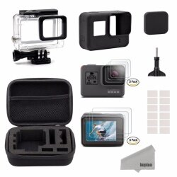 Kupton Accessories for GoPro Hero 7Black/2018/6/5 Black Starter Kit Travel Case Small/Housing Case/Screen Protector + Lens Cover/Silicone Protective Case for Go Pro Hero7/black2018/6/5 Outdoor Sport Kit