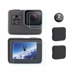 Kupton Screen Protector for GoPro Hero 7 Black/2018/6/5/(Screen & Lens), Tempered Glass Screen Protector Film + Tempered Glass Lens Protection Film + Lens Cover Lens Cap Accessories For GoPro Hero7 Black/2018/6/5/  Black (2-Pack)
