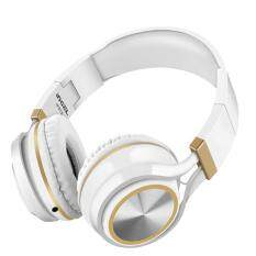 lanyasy Foldable Heavy Bass Headphone Headset With Mic For Smartphone Tablet PC (White+Gold)