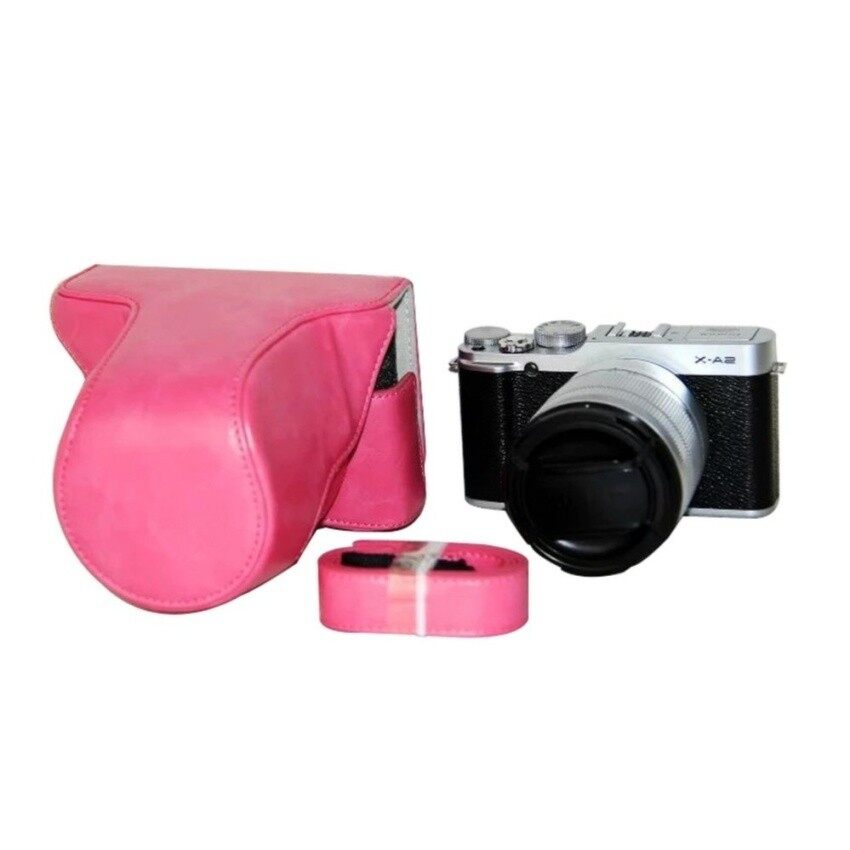 Sarung Kamera Kulit Tas Penutup Tali Sling Kamera untuk Fujifilmfujifinepix XM1 X A1 XA2 16-50 Mm Lensa Kamera Digital (Mawar Merah) -Intl