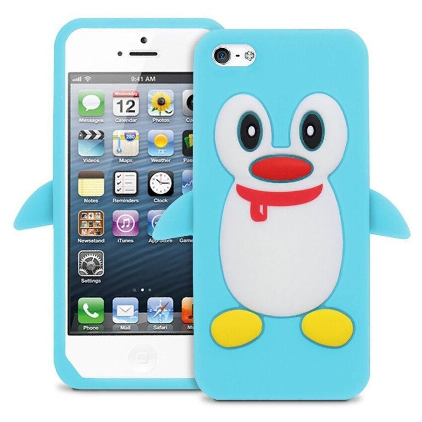 Leegoal Baby Blue Penguin Silicone Soft Case Cover for iPhone 5 5S .
