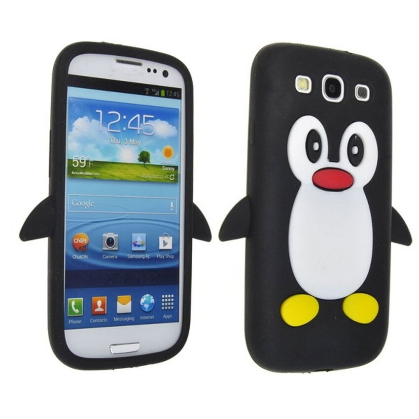Leegoal Black Penguin Silicone Soft Case Cover for New SamsungGalaxy .