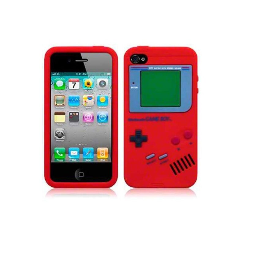 4g 4s Intl. Leegoal Red Nintendo Gameboy Pattern Silicone Soft Case Cover .