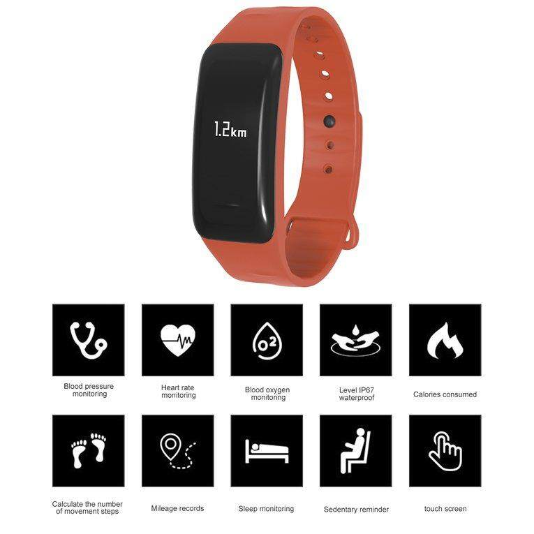 USTORE LEMFO C1 Pedometer Heart Rate Monitor Smart Bracelet for iOS for Android