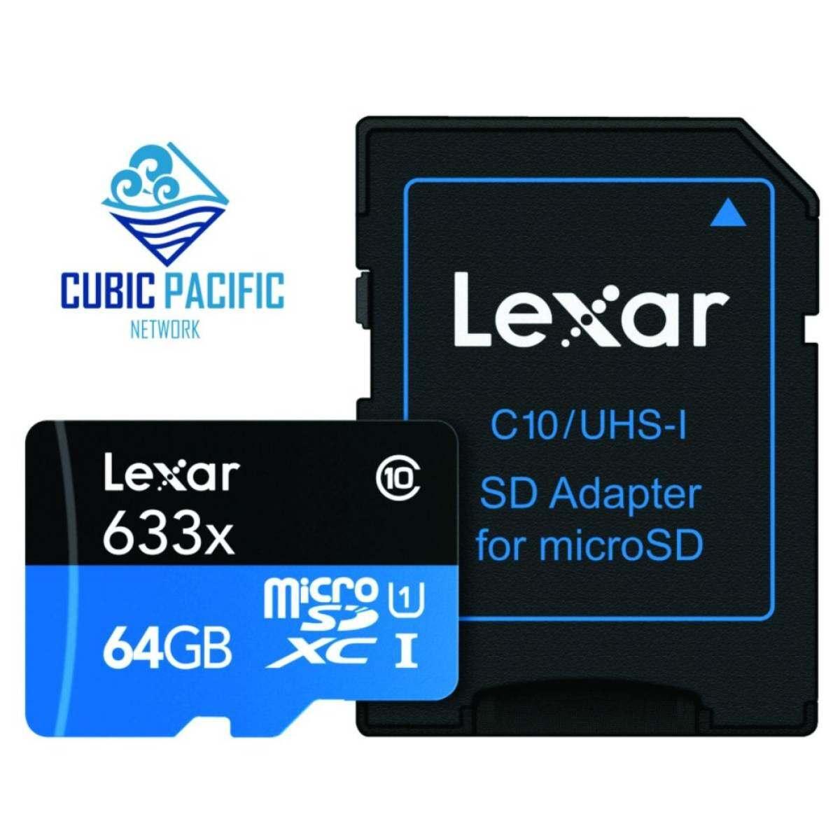Lexar Kinerja Tinggi 633X MicroSD UHS-I 64 GB 95 MB/S Kartu Memori dengan Adaptor
