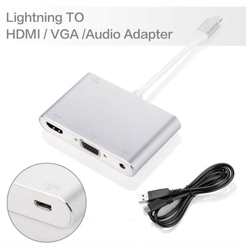 WLL Lightning 8 Pin Male To + VGA + Audio Female Kabel Adaptor untuk IPHONE 7