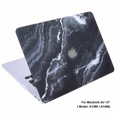 Lightning Power-Rubberized Plastic Hard Shell Cover Case for Apple Macbook Air 13 Inch A1369 & A1466(Black Marble Pattern)