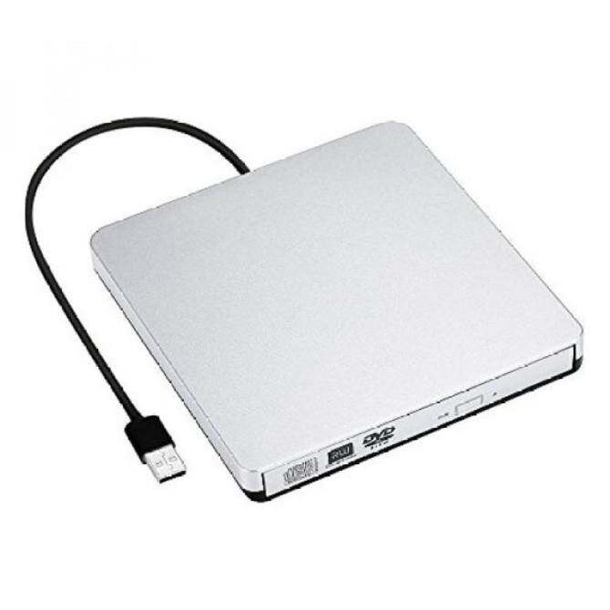 LinGear Slim USB 3.0 and 2.0 Portable CD/DVD-RW Combo Plug and PlayOptical Drive for All Devices, (Silver)