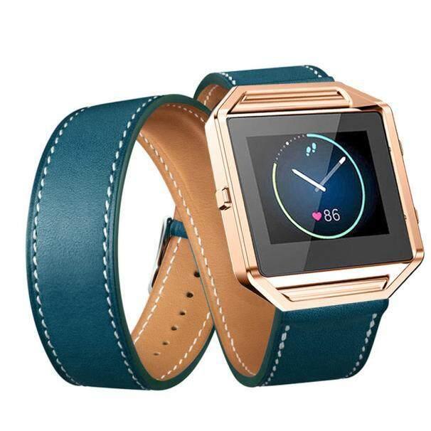 Long Leather Double Ring Watch band Wrist strap For Fitbit Blaze Smart Watch BK - intl