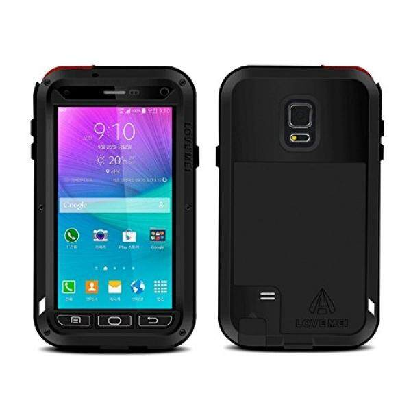 Love Mei Shockproof Water Resistant Dust/Dirt/Snow Proof Aluminum Metal Gorilla Glass Heavy Duty Protection Case Cover for Samsung Galaxy Note 4 IV N9100 Black - intl