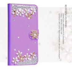 Mewah Wanita Handmade Rhinestone Diamond Dompet Kulit Flip Penutup Case untuk Samsung Galaxy S4 Aktif I9295