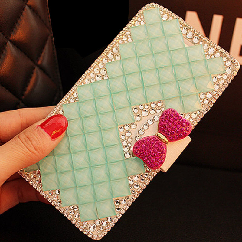Luxurious Women Handmade Rhinestone Diamond Leather Wallet Flip Cover Case For Vodafone Smart 4 power/lte 4G - intl