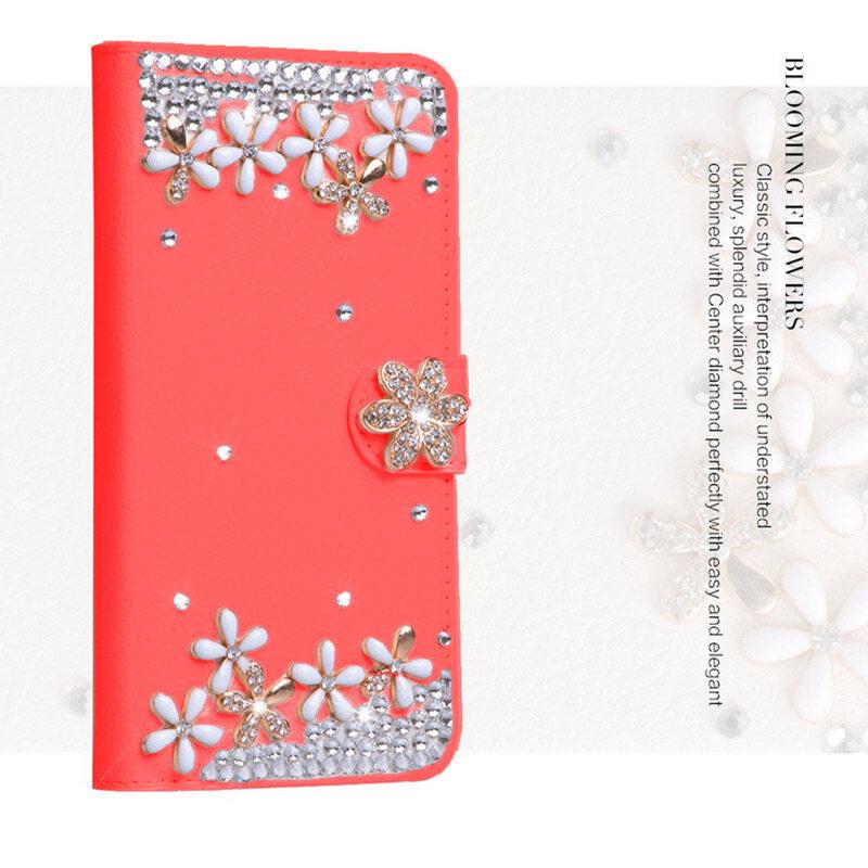 Mewah Berlian Kulit Lipat Kulit dengan Kartu Kredit Mewah Lipat Sarung untuk Asus Zenfone Pergi ZB452KG