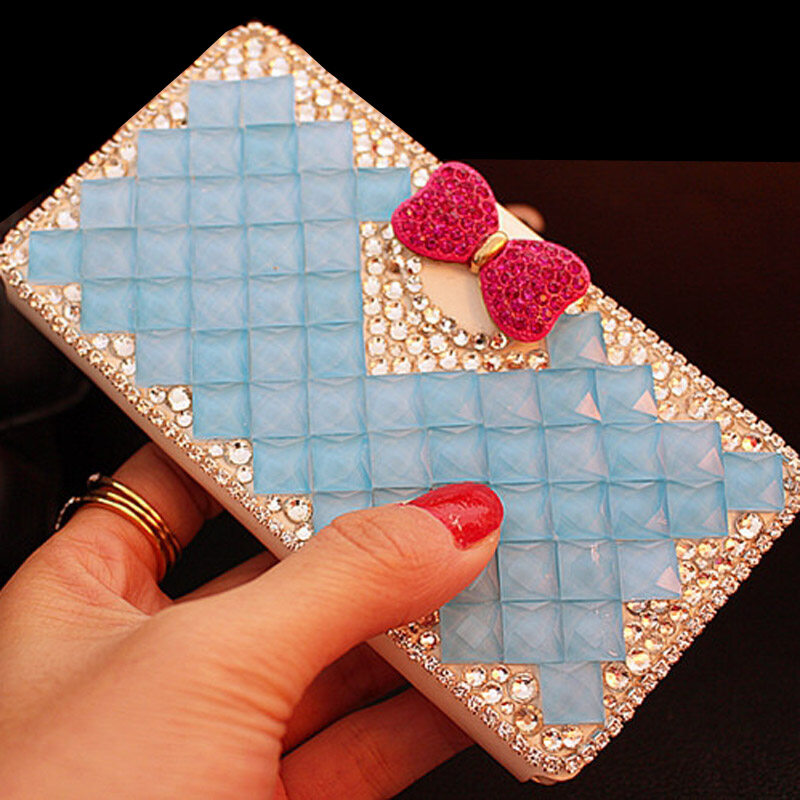 Luxury Diamond Leather Flip Kulit dengan Deluxe Kartu Kredit untuk Huawei Ascend G630-Intl