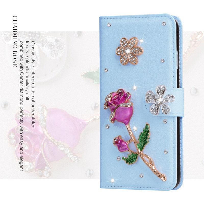 Mewah Berlian Kulit Lipat Kulit dengan Mewah Kartu Kredit Lipat Sarung untuk Huawei Ascend G630-Internasional