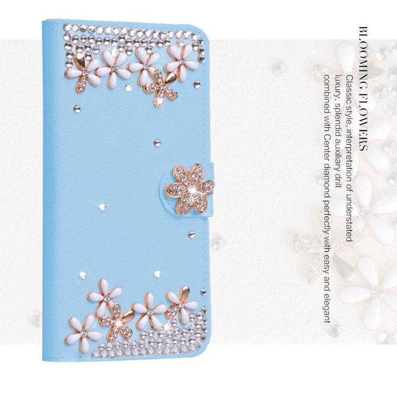 Mewah Berlian Kulit Lipat Kulit dengan Mewah Sarung Lipat Kartu Kredit untuk Vodafone Pintar 4 Daya/LTE 4G -Internasional