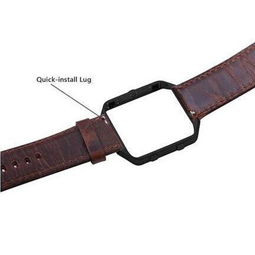 Best Luxury Leather Watch Band Wrist Strap Metal Frame For Fitbit Blaze Smart Watch Intl