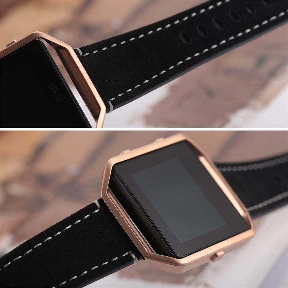 Luxury Leather Watch Band Wrist strap+Metal Frame For Fitbit Blaze Smart Watch