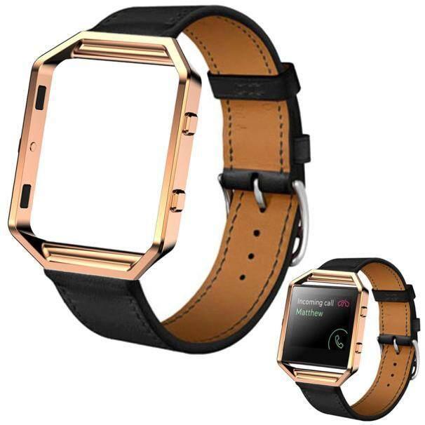 Luxury Leather Watch Band Wrist strap+Metal Frame For Fitbit Blaze Watch BK - intl