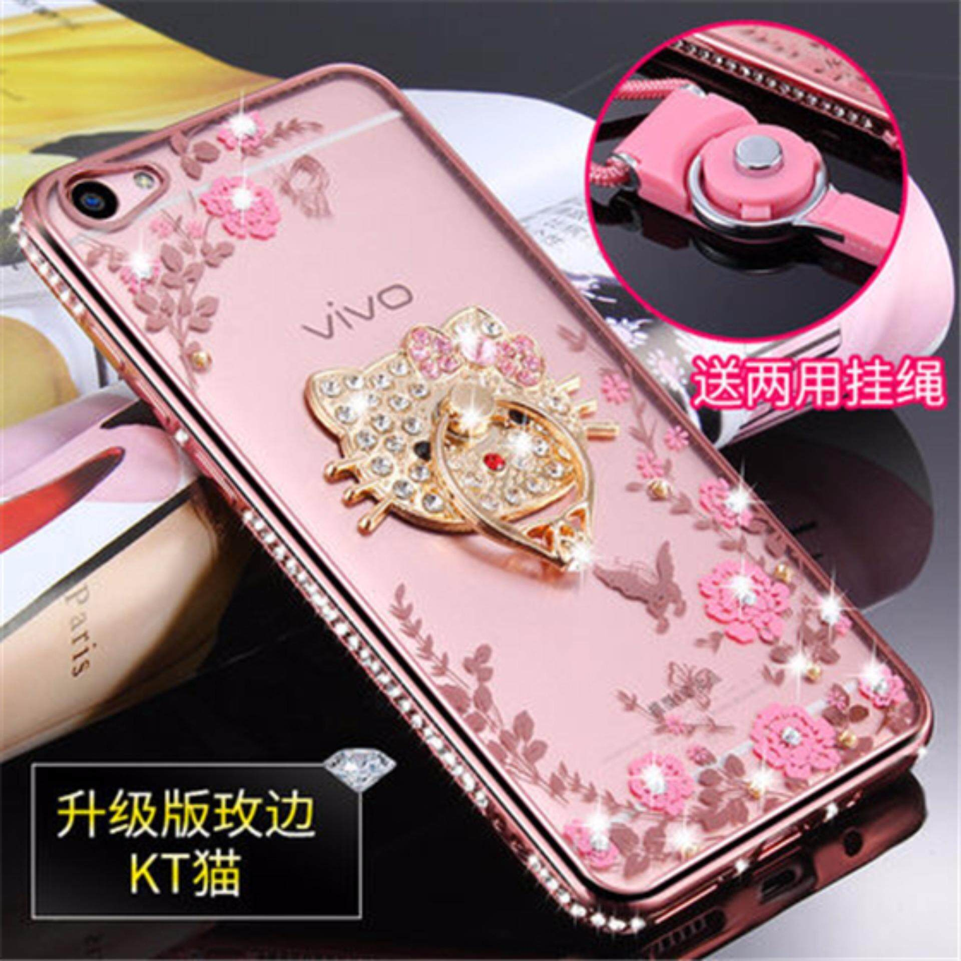 Mewah Rhinestone Phone Case Cover Finger Diputar Ring Holder Stand TPU untuk Vivo Y53/Y53A