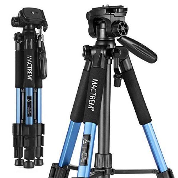 Mactrem PT55 Tripod Kamera Perjalanan Aluminium Ringan untuk DSLR SLR Canon Nikon Sony Olympus DV dengan Tas Laptop-11 Lbs (5Kg) beban (Biru)-Intl