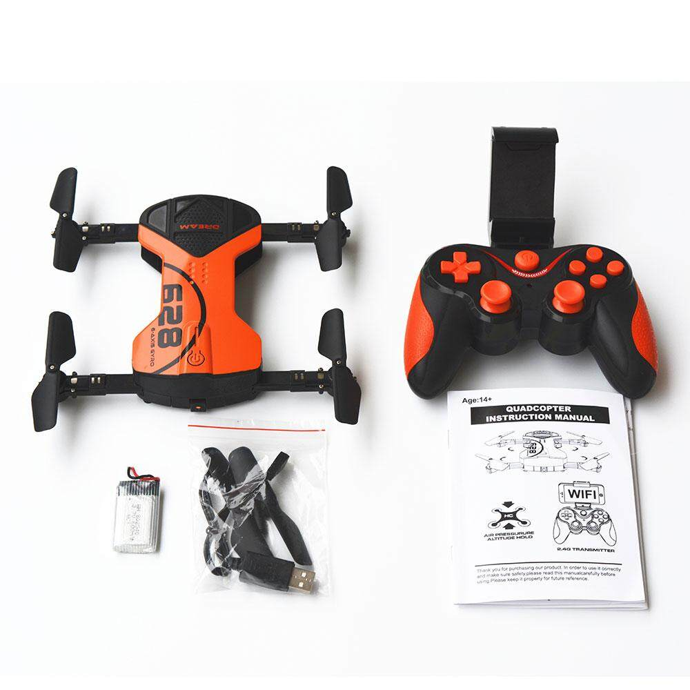 MagicWorldMall Floding Aerial Vehicle WiFi Real-time Transfer RC Quadcopter HD Camera Drone UAV Helicopters Model Orange
