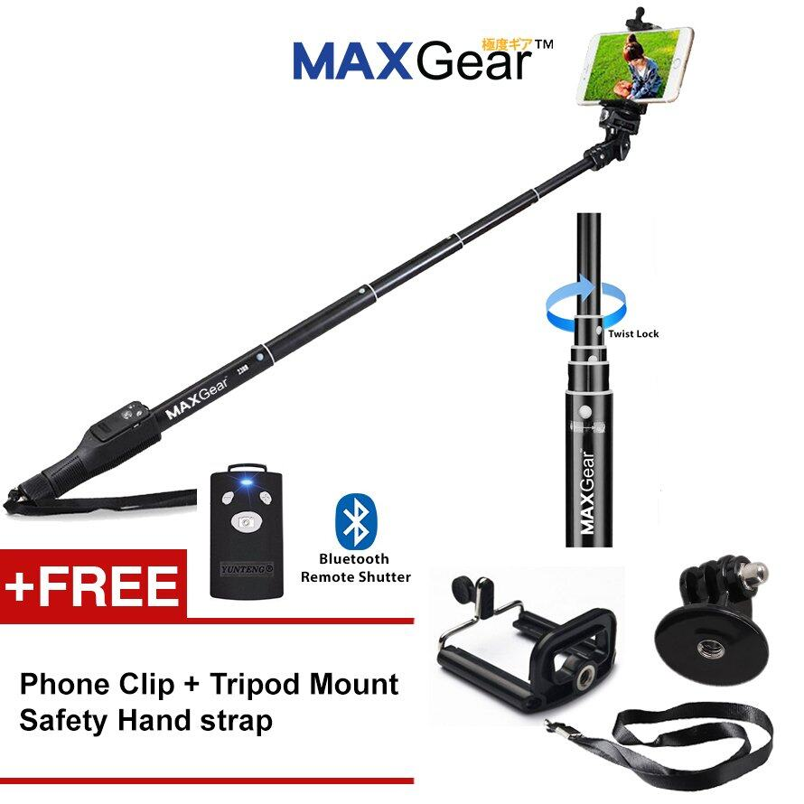 Maxgear Mg2288x 37cm To 118cm Selfie Monopod Bluetooth Remote Shutter For Phone Camera Gopro + Free Phone Clip By Prado.
