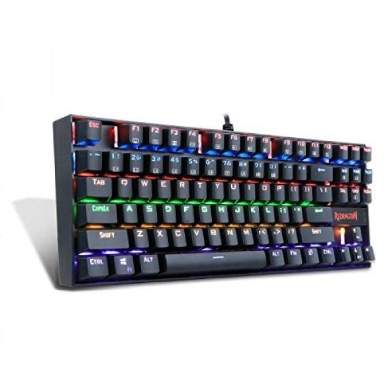 Mechanical gaming keyboard ergonomic tenkeyless Redragon K552-R RGB LED rainbow backlit for pc with Blue switch (Black) - intl Singapore