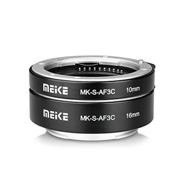 Meike Mk-s-af3c Logam Autofokus Makro Verl? ngerung Adaptor F? R Sony E-Dudukan Cincin 10 Mm 16 Mm Kamera Den Mirrorless A7 A7M2 NEX3 Mex5 NEX6 NEX7 A5000 a6000 A6300 A6500 A9 USW. (Hitam)-Intl