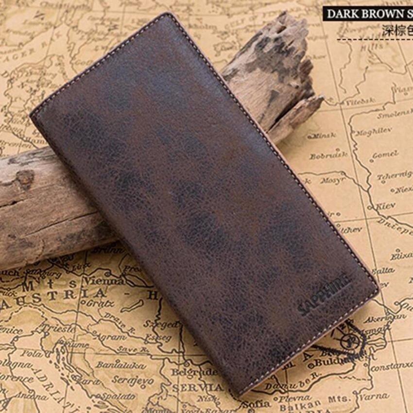 Men Wallets Long Genuine Leather Brand Big Capacity PurseFirstLayer Cowhide Man Day Clutches Bag-Dark