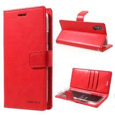 MERCURY GOOSPERY Blue Moon for iPhone X 5.8 inch Leather Stand Wallet Case - Red