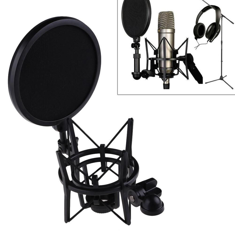 Hình ảnh Microphone Mic Professional Shock Mount with Pop Shield Filter Screen - intl