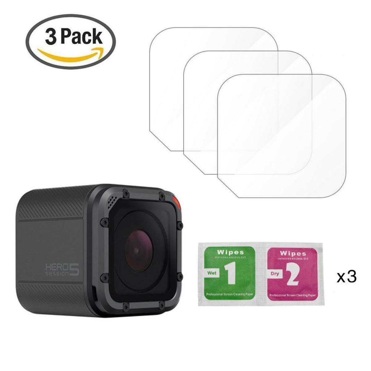 Miimall 3 Pcs Scratch-resistant Tempered Glass Screen Protector Lens Film Accessory Kit For Hero